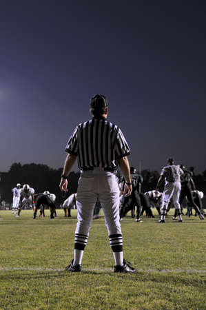 judging: Referee at a Football game at night