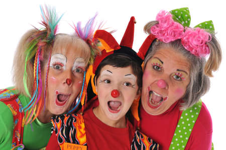 Three clowns having fun isolated on a white background Stock Photo