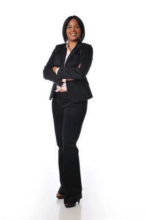 African American businesswoman standing and isolated on white