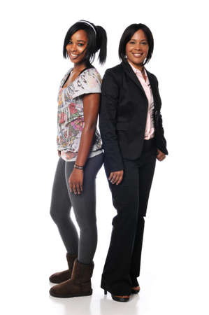 African american mother and daughter isolated on white photo