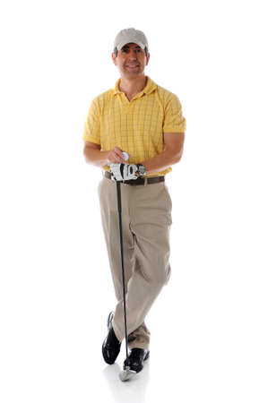 pga: Golfer relaxing and posing isolated against a white background