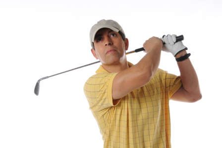pga: Golfer after swing on a studio setting isolated on a white background