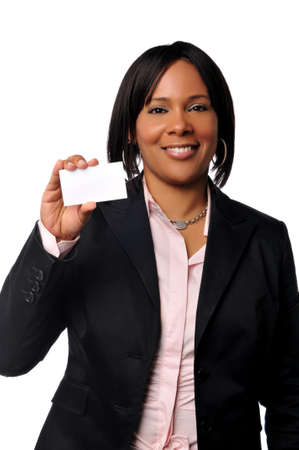 african business: Black young businesswoman holding a card isolated on white