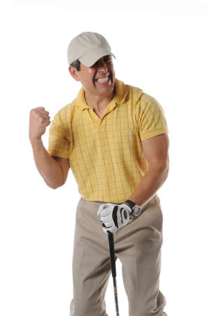 golf cap: Golfer celebrating after a shot isolated on a white background Stock Photo