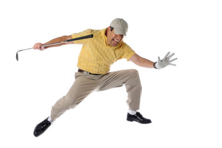 golfers: golfer jumping and celebrating isolated on a white background Stock Photo