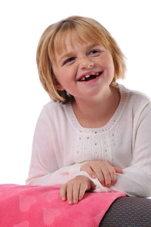 Special needs child smiling isolated on a white background photo