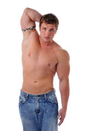 Muscular young mans torso isolated on a white background photo