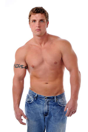 Muscular young mans torso isolated on a white background