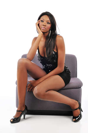 sexy beine: Young african american Woman posing Mode und isolated against a white background