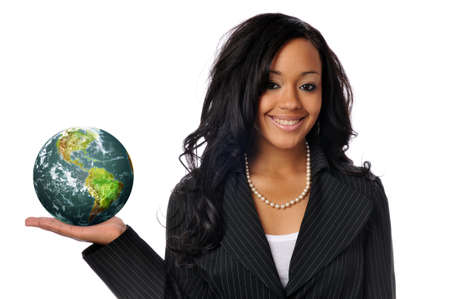 hand holding world: Young african americam young woman holdinf the world