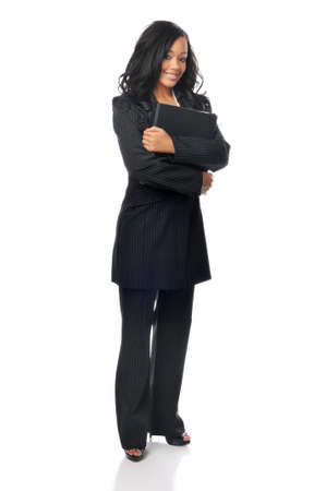 Beautiful young african american businesswoman with folder isoaated on white Stock Photo - 7961227