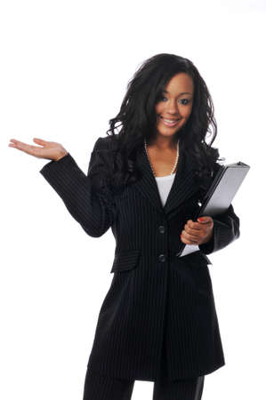 Beautiful young african american businesswoman smiling isoaated on white photo