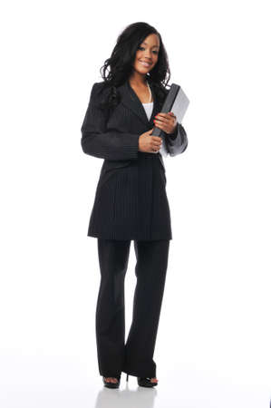 Beautiful young african american businesswoman smiling isoaated on white Stock Photo - 7961230