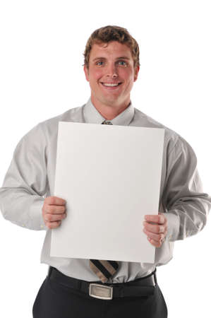 job posting: Businessman holding a blank sign isolated against a white background Stock Photo