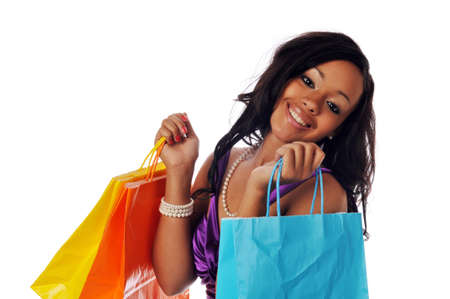 black and white photograph: Young African American shopper isolated against a white background