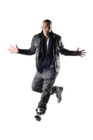 aerobica: hip-hop style dancer performing against a white background