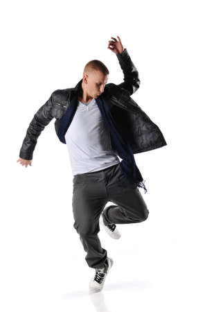 breakdance: hip-hop style dancer performing against a white background