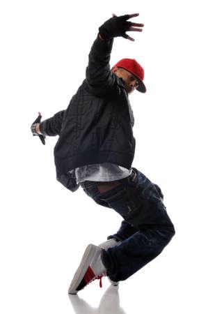 dance: bailar�n de estilo hip-hop realizar sobre un fondo blanco  Foto de archivo