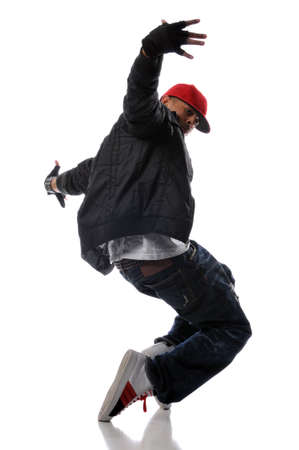 hip-hop style dancer performing against a white background