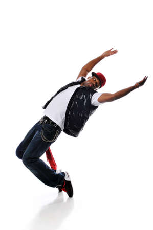 break: Hip Hop style dancer performing isolated against a white background