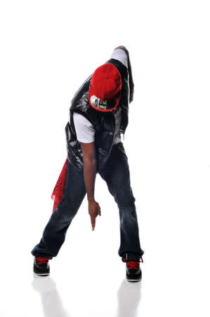 aerobica: Hip Hop style dancer performing isolated against a white background