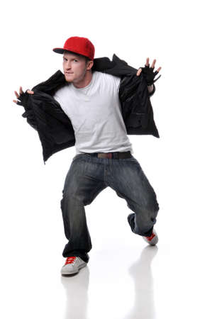 Hip Hop style dancer performing isolated against a white background