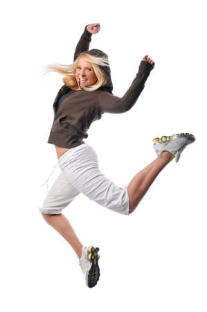 jumpers: Hip hop dancer performing against a white background Stock Photo
