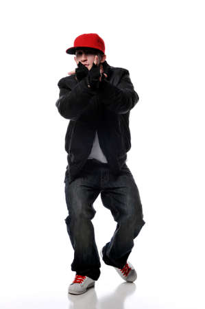 cool guy: Hip-Hop style dancer performing isolated against a white background