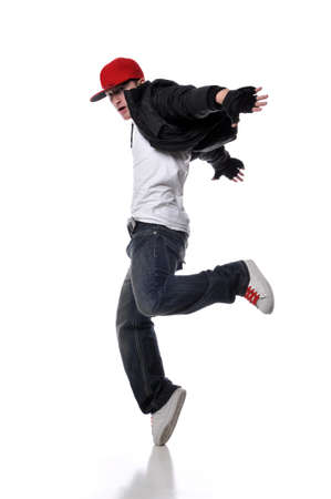 bailarin hombre: Bailar�n de estilo hip-hop realizar aisladas contra un fondo blanco  Foto de archivo