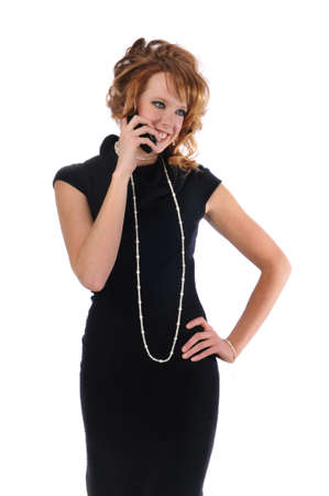 Businesswoman on the cell phone and isolated against a white background Stock Photo - 7961512