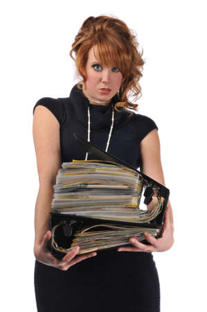 paralegal: Office woman with a pile of files isolated against a white background