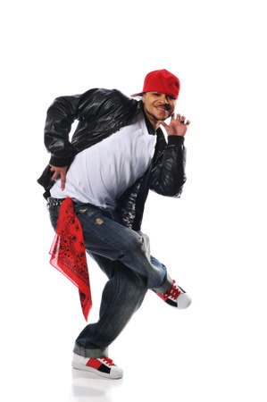 break: Hip-Hop style dancer performing isolated against a white background