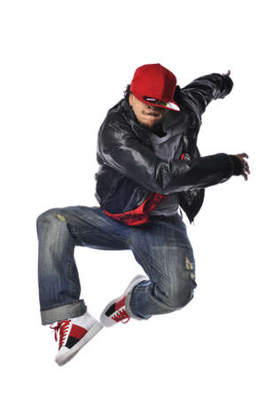 aerobica: Hip-Hop style dancer performing isolated against a white background