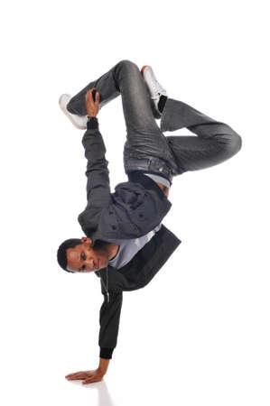bailarin hombre: Hip de bailar�n de salto, llevar a cabo sobre un fondo blanco