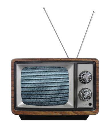 흰색 배경에 고립 된 신호가없는 오래 된 vinatage tevevision
