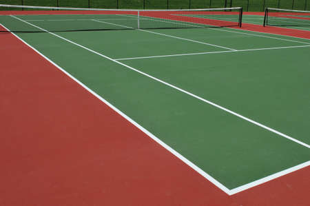 Tennis courts view outdoors on a sunny day Stock Photo