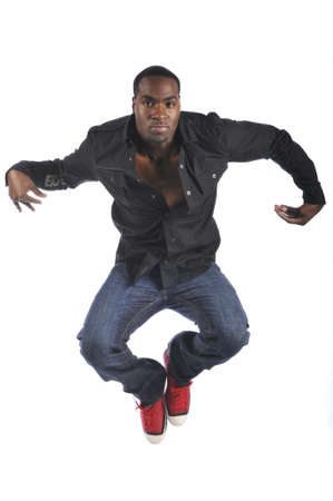 aerobica: Hip-Hop style dancer performing isolated on a white background Stock Photo