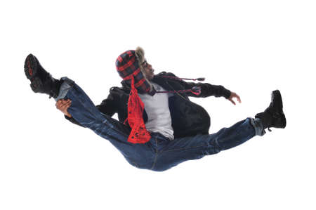aerobica: Hip-Hop style dancer jumping isolated on a white background