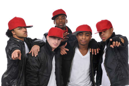 aerobica: Hip Hop style dancers posing wearing red hats Stock Photo