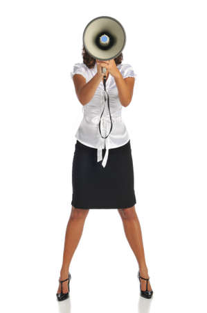 Young businesswoman with megaphone isolated on a white background