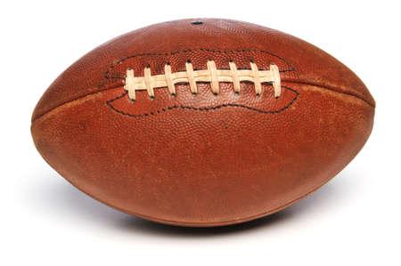 leather ball: F�tbol cerca hasta aislado en un fondo blanco Foto de archivo