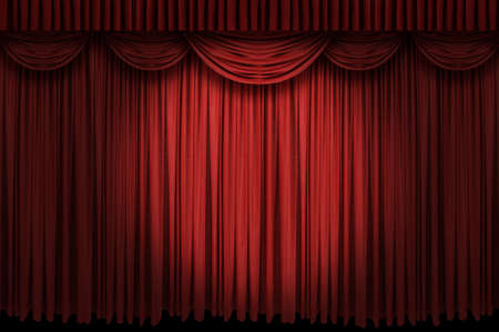 Large red curtain stage opening with spot lights and dark background
