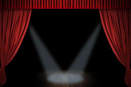 스포트 라이트와 어두운 배경으로 열리는 커다란 빨간 커튼 스테이지