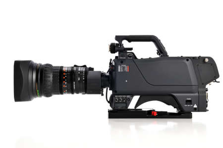 video still: Professional video camera facing left isolatad on a white background Stock Photo
