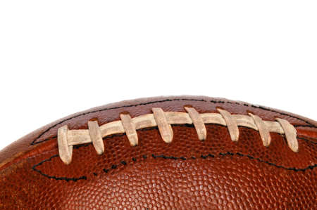 pigskin: Oldf football close up showing the laces on a horizontal format