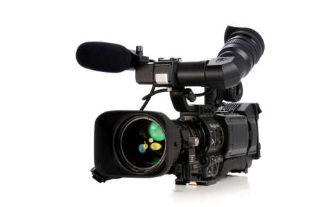 television camera: Professional video camera isolated on a white background Stock Photo