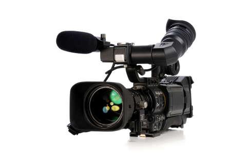 Professionele videocamera geïsoleerd op een witte achtergrond Stockfoto