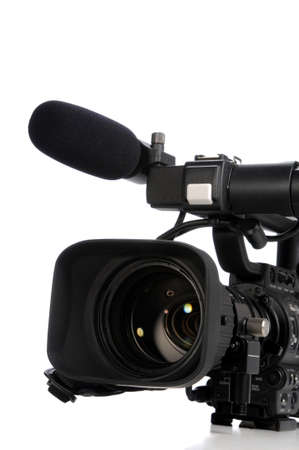 Professional video camera close up isolated on a white background photo