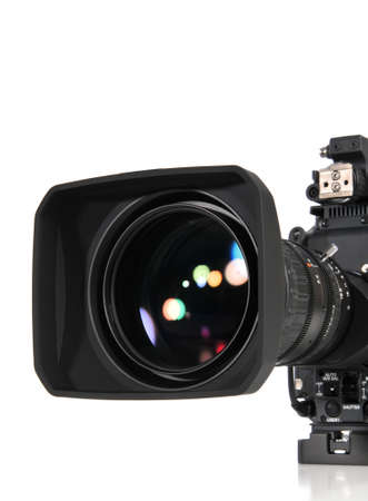 Professional video camera isolated on a white background 版權商用圖片