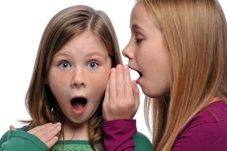 Two girls telling a secret and expressing surprise isolated on white Banque d'images